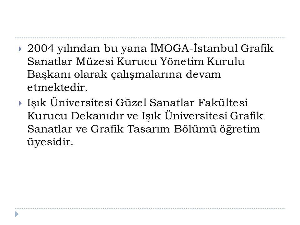  2004 yılından bu yana İMOGA-İstanbul Grafik Sanatlar Müzesi Kurucu Yönetim Kurulu Başkanı olarak çalışmalarına devam etmektedir.