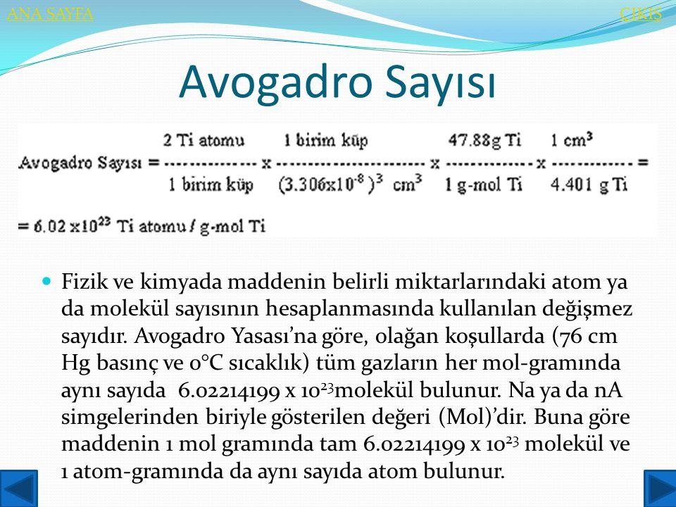 Avogadro Sayısı  Fizik ve kimyada maddenin belirli miktarlarındaki atom ya da molekül sayısının hesaplanmasında kullanılan değişmez sayıdır. Avogadro