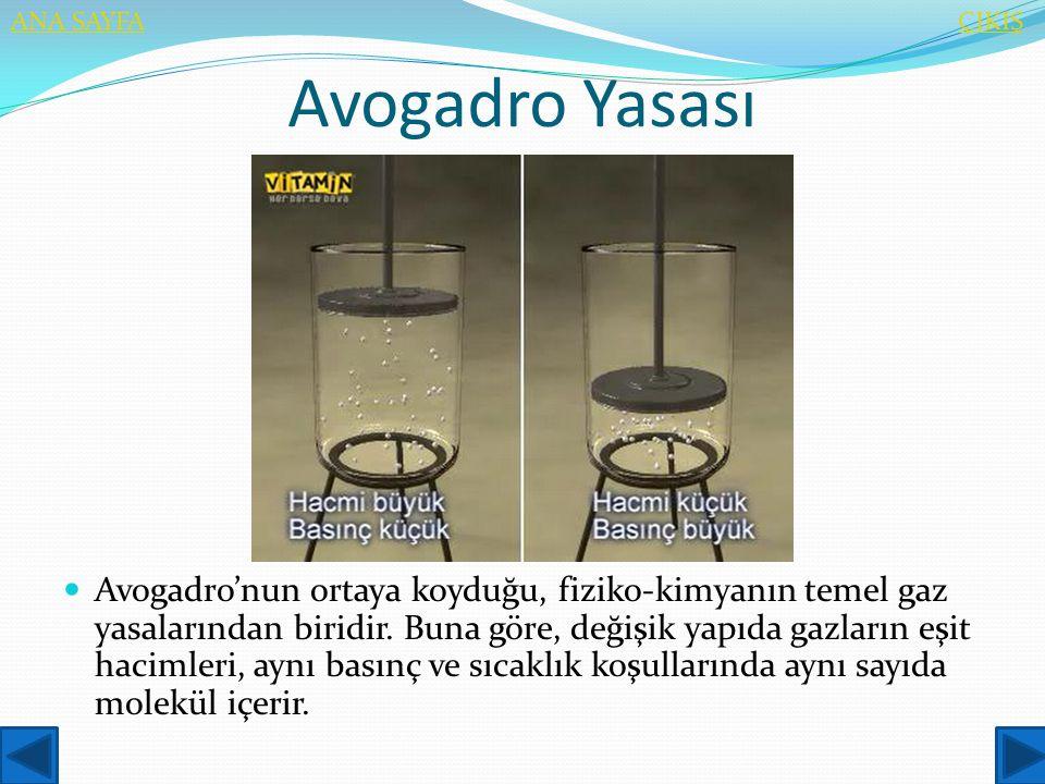 Avogadro Yasası  Avogadro'nun ortaya koyduğu, fiziko-kimyanın temel gaz yasalarından biridir. Buna göre, değişik yapıda gazların eşit hacimleri, aynı