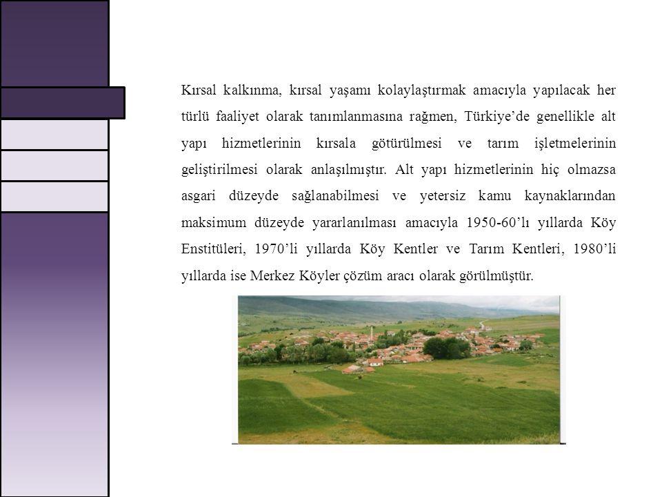 Kırsal kalkınma, kırsal yaşamı kolaylaştırmak amacıyla yapılacak her türlü faaliyet olarak tanımlanmasına rağmen, Türkiye'de genellikle alt yapı hizme