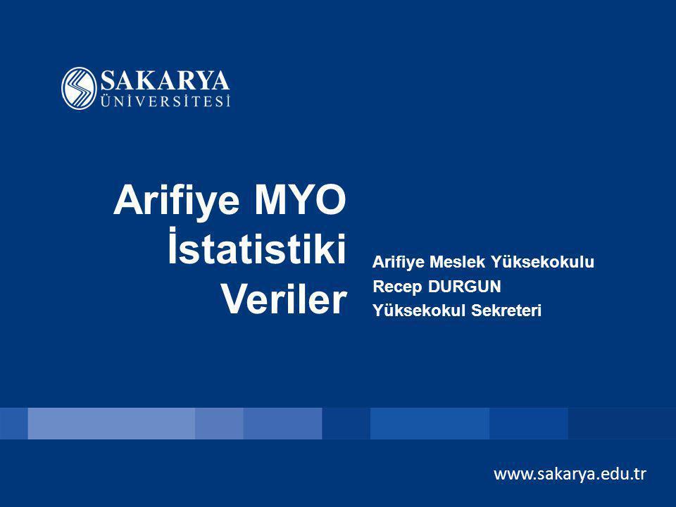 www.sakarya.edu.tr Arifiye MYO İstatistiki Veriler Arifiye Meslek Yüksekokulu Recep DURGUN Yüksekokul Sekreteri