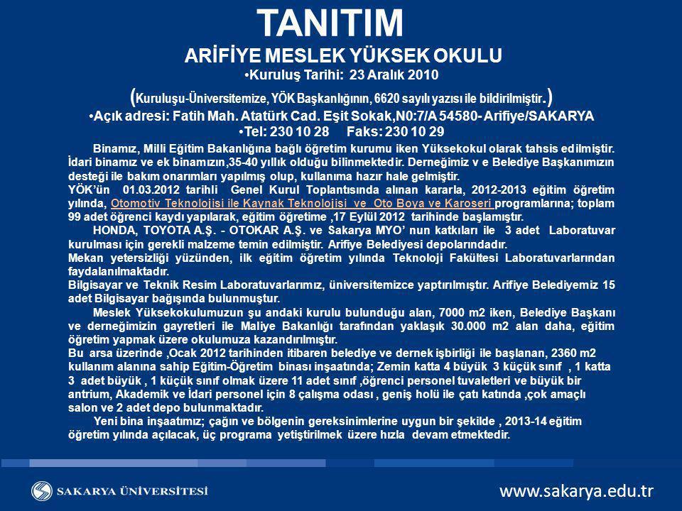 www.sakarya.edu.tr ÖĞRENCİ SAYILARI BÖLÜMI.ÖğretimII.