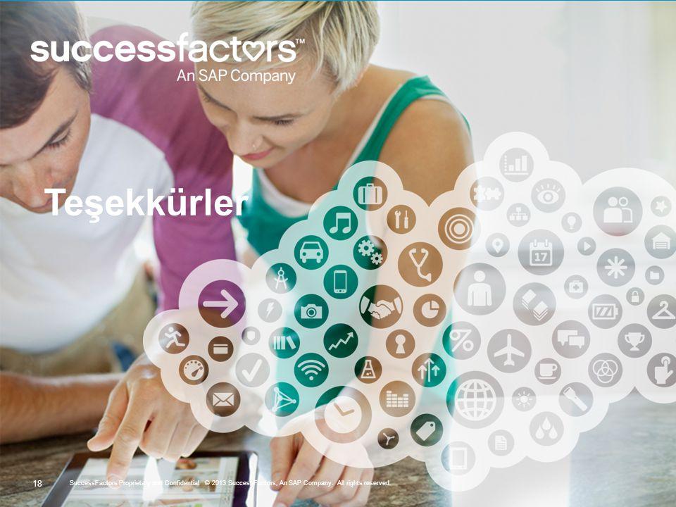 18 SuccessFactors Proprietary and Confidential © 2013 SuccessFactors, An SAP Company. All rights reserved. Teşekkürler