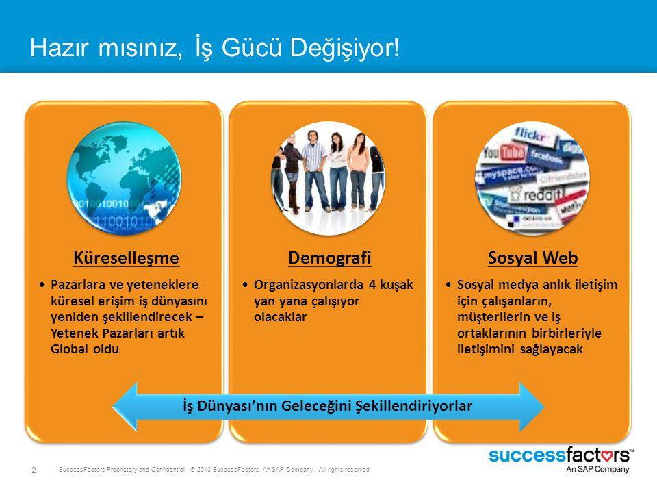 2 SuccessFactors Proprietary and Confidential © 2013 SuccessFactors, An SAP Company. All rights reserved. Hazır mısınız, İş Gücü Değişiyor! İş Dünyası