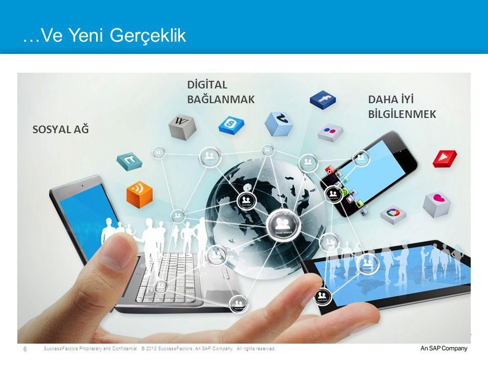 6 SuccessFactors Proprietary and Confidential © 2013 SuccessFactors, An SAP Company. All rights reserved. DİGİTAL BAĞLANMAK SOSYAL AĞ DAHA İYİ BİLGİLE