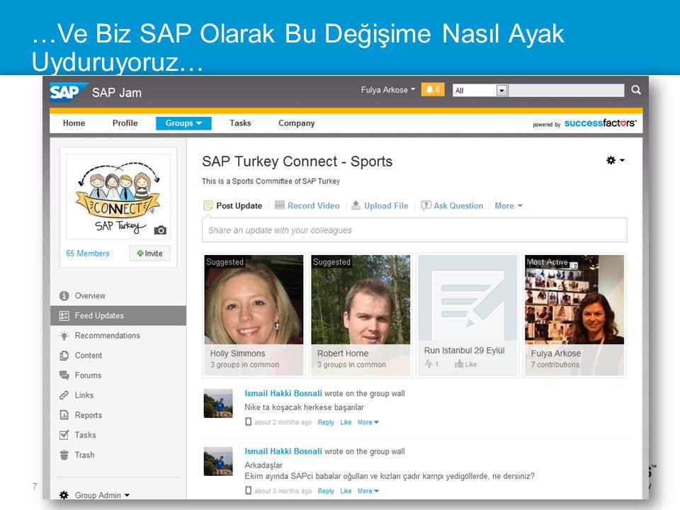 7 SuccessFactors Proprietary and Confidential © 2013 SuccessFactors, An SAP Company. All rights reserved. …Ve Biz SAP Olarak Bu Değişime Nasıl Ayak Uy