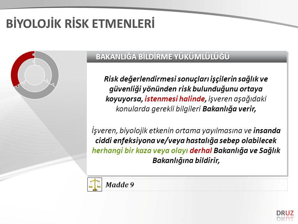 BAKANLIĞA BİLDİRME YÜKÜMLÜLÜĞÜ Risk değerlendirmesi sonuçları işçilerin sağlık ve güvenliği yönünden risk bulunduğunu ortaya koyuyorsa, istenmesi hali