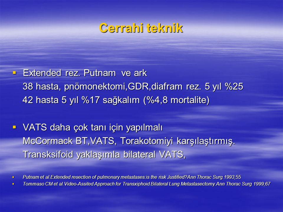 Cerrahi teknik  Extended rez. Putnam ve ark 38 hasta, pnömonektomi,GDR,diafram rez. 5 yıl %25 38 hasta, pnömonektomi,GDR,diafram rez. 5 yıl %25 42 ha