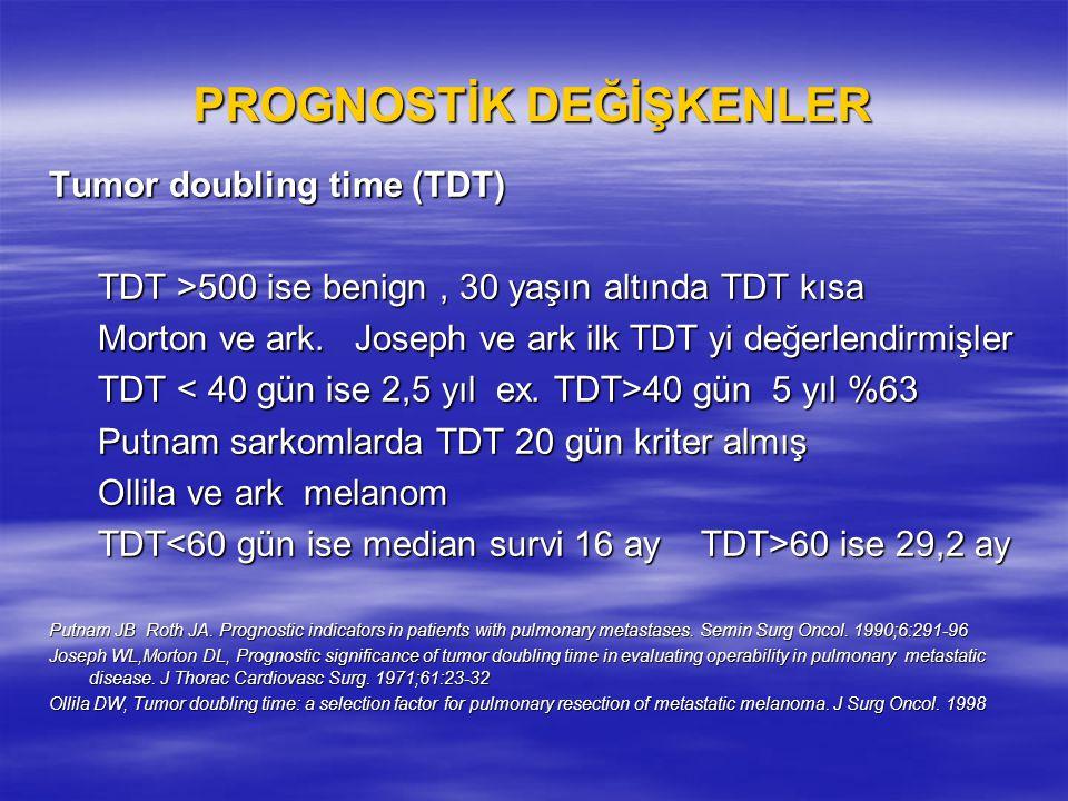 PROGNOSTİK DEĞİŞKENLER Tumor doubling time (TDT) TDT >500 ise benign, 30 yaşın altında TDT kısa TDT >500 ise benign, 30 yaşın altında TDT kısa Morton