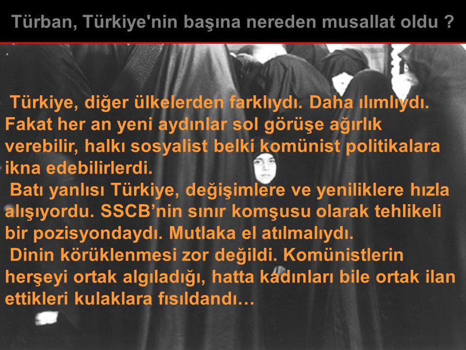 Türkiye, diğer ülkelerden farklıydı. Daha ılımlıydı. Fakat her an yeni aydınlar sol görüşe ağırlık verebilir, halkı sosyalist belki komünist politikal