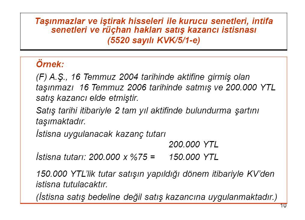 10 Taşınmazlar ve iştirak hisseleri ile kurucu senetleri, intifa senetleri ve rüçhan hakları satış kazancı istisnası (5520 sayılı KVK/5/1-e) Örnek: (F