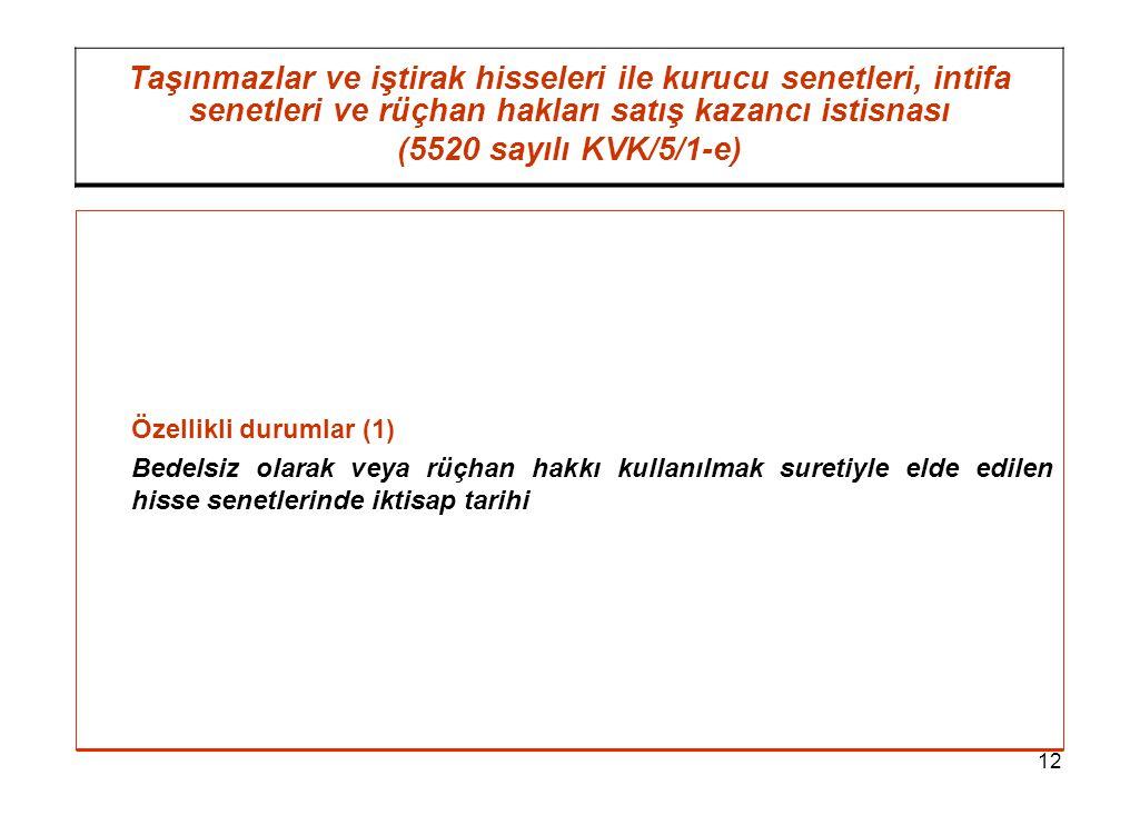 12 Taşınmazlar ve iştirak hisseleri ile kurucu senetleri, intifa senetleri ve rüçhan hakları satış kazancı istisnası (5520 sayılı KVK/5/1-e) Özellikli