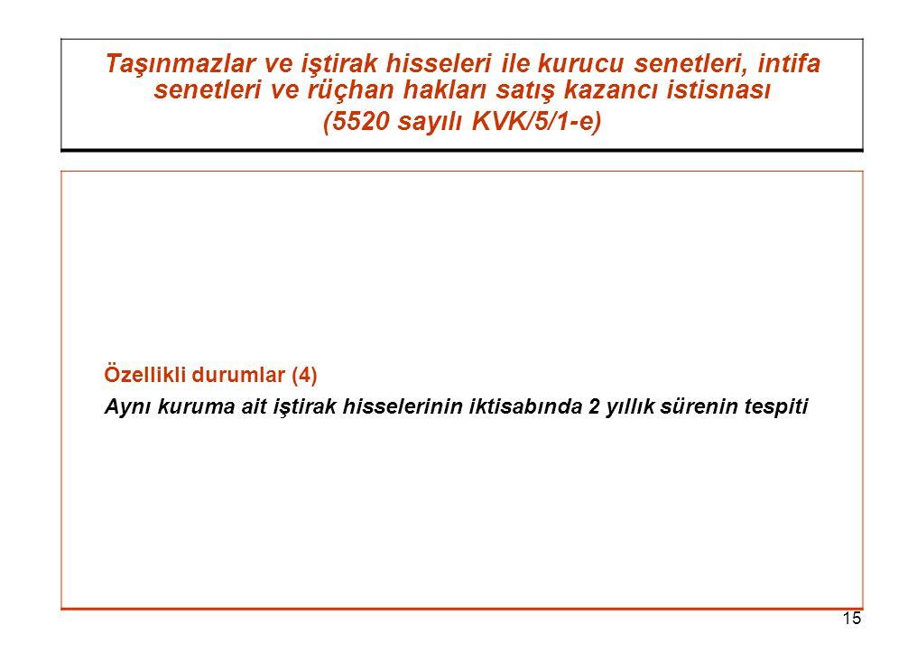 15 Taşınmazlar ve iştirak hisseleri ile kurucu senetleri, intifa senetleri ve rüçhan hakları satış kazancı istisnası (5520 sayılı KVK/5/1-e) Özellikli