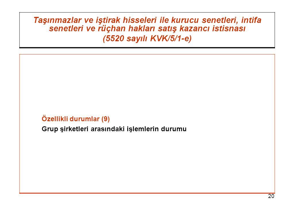 20 Taşınmazlar ve iştirak hisseleri ile kurucu senetleri, intifa senetleri ve rüçhan hakları satış kazancı istisnası (5520 sayılı KVK/5/1-e) Özellikli