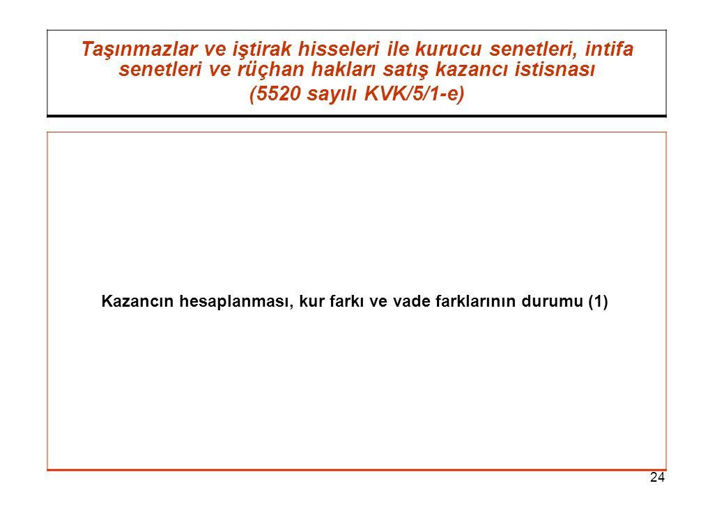24 Taşınmazlar ve iştirak hisseleri ile kurucu senetleri, intifa senetleri ve rüçhan hakları satış kazancı istisnası (5520 sayılı KVK/5/1-e) Kazancın