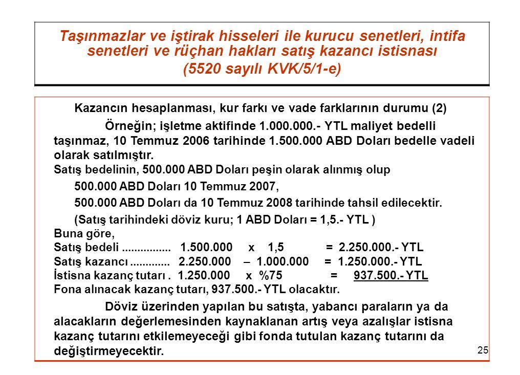 25 Taşınmazlar ve iştirak hisseleri ile kurucu senetleri, intifa senetleri ve rüçhan hakları satış kazancı istisnası (5520 sayılı KVK/5/1-e) Kazancın hesaplanması, kur farkı ve vade farklarının durumu (2) Örneğin; işletme aktifinde 1.000.000.- YTL maliyet bedelli taşınmaz, 10 Temmuz 2006 tarihinde 1.500.000 ABD Doları bedelle vadeli olarak satılmıştır.