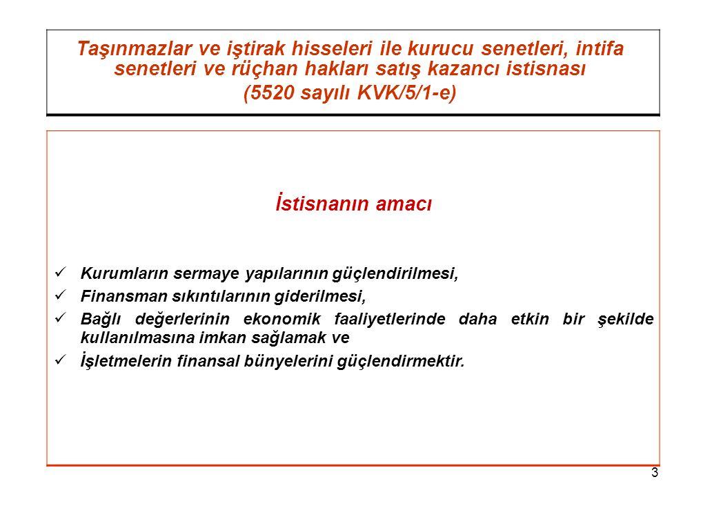 3 Taşınmazlar ve iştirak hisseleri ile kurucu senetleri, intifa senetleri ve rüçhan hakları satış kazancı istisnası (5520 sayılı KVK/5/1-e) İstisnanın