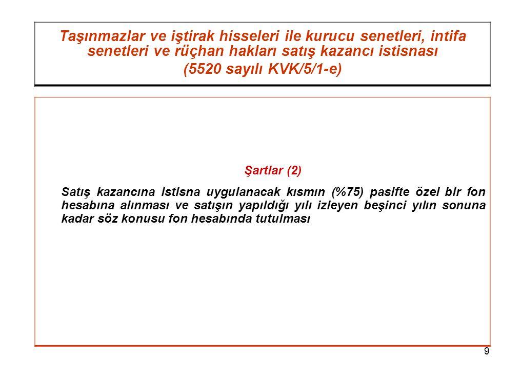 10 Taşınmazlar ve iştirak hisseleri ile kurucu senetleri, intifa senetleri ve rüçhan hakları satış kazancı istisnası (5520 sayılı KVK/5/1-e) Örnek: (F) A.Ş., 16 Temmuz 2004 tarihinde aktifine girmiş olan taşınmazı 16 Temmuz 2006 tarihinde satmış ve 200.000 YTL satış kazancı elde etmiştir.
