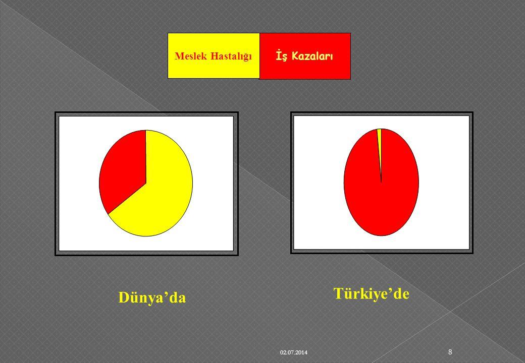 02.07.2014 8 Dünya'da Türkiye'de İş Kazaları Meslek Hastalığı