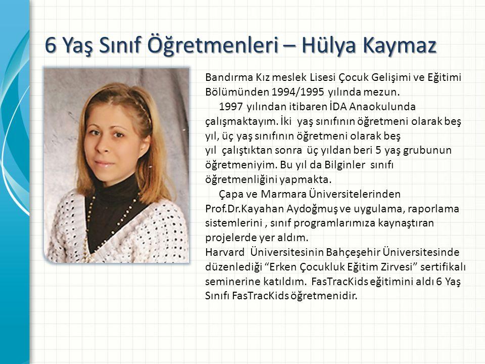 6 Yaş Sınıf Öğretmenleri – Hülya Kaymaz Bandırma Kız meslek Lisesi Çocuk Gelişimi ve Eğitimi Bölümünden 1994/1995 yılında mezun.
