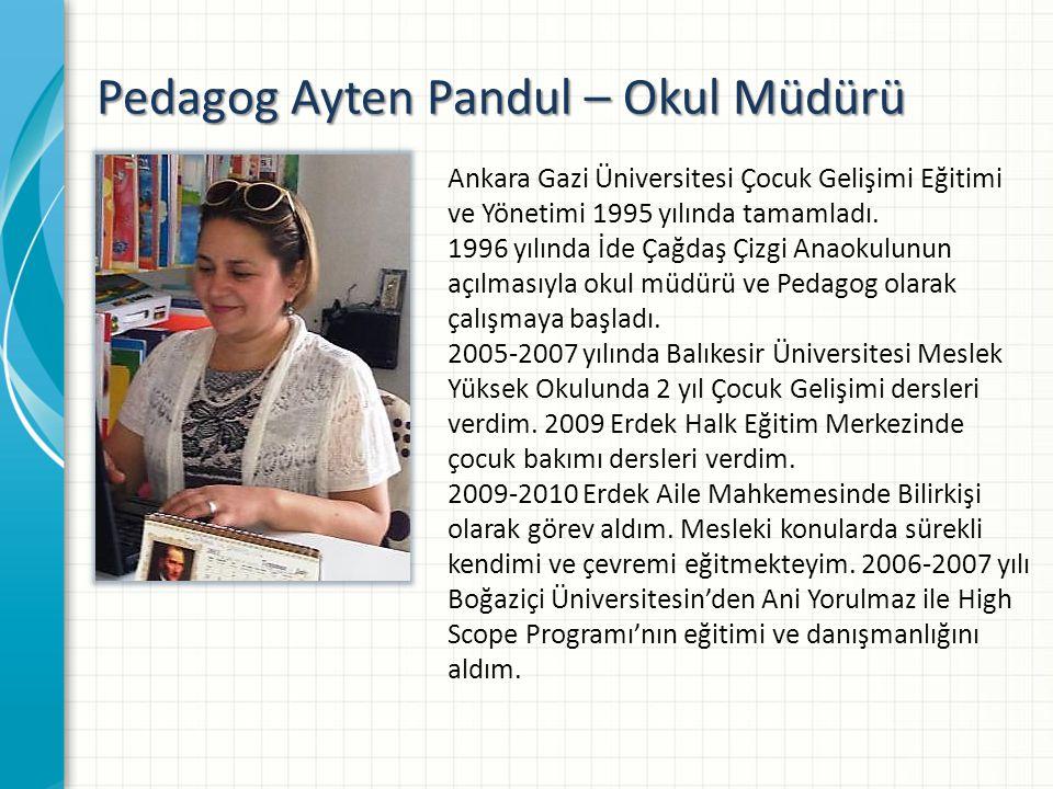 Pedagog Ayten Pandul – Okul Müdürü Ankara Gazi Üniversitesi Çocuk Gelişimi Eğitimi ve Yönetimi 1995 yılında tamamladı.