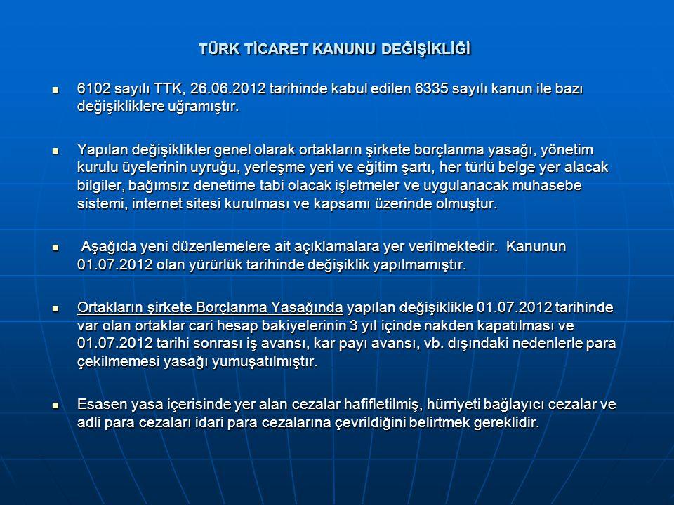 TÜRK TİCARET KANUNU DEĞİŞİKLİĞİ  6102 sayılı TTK, 26.06.2012 tarihinde kabul edilen 6335 sayılı kanun ile bazı değişikliklere uğramıştır.