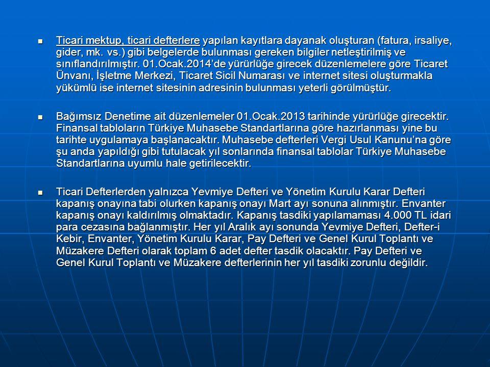  Ticari mektup, ticari defterlere yapılan kayıtlara dayanak oluşturan (fatura, irsaliye, gider, mk.