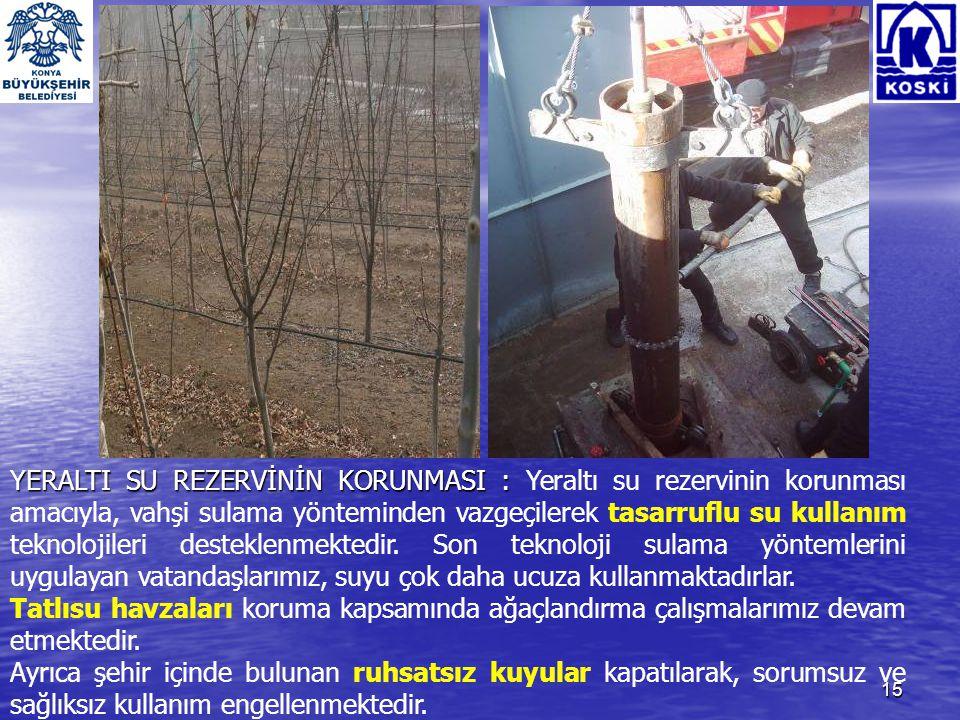 16 ELEKTRİK ENERJİSİ TASARRUFU : ELEKTRİK ENERJİSİ TASARRUFU : Konya'nın su ihtiyacının %90'a yakını yeraltı suyundan karşılandığından kullanılan enerji miktarı büyük boyuttadır.