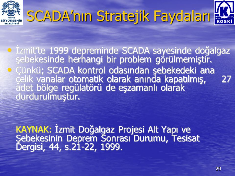 27 SCADA'nın Stratejik Faydaları • İZSU Su Şebekesi 2200 mm.