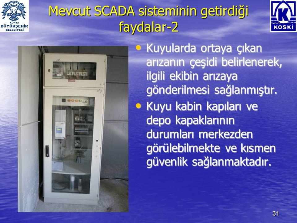 32 Mevcut SCADA sisteminin getirdiği faydalar-3 • Demantlı tarifeye uyulması bilgisayar tarafından yapıldığından ve hız kontrol cihazları kullanılarak şebekeye ihtiyaç kadar su pompalandığından enerji tasarrufu sağlanmaktadır.