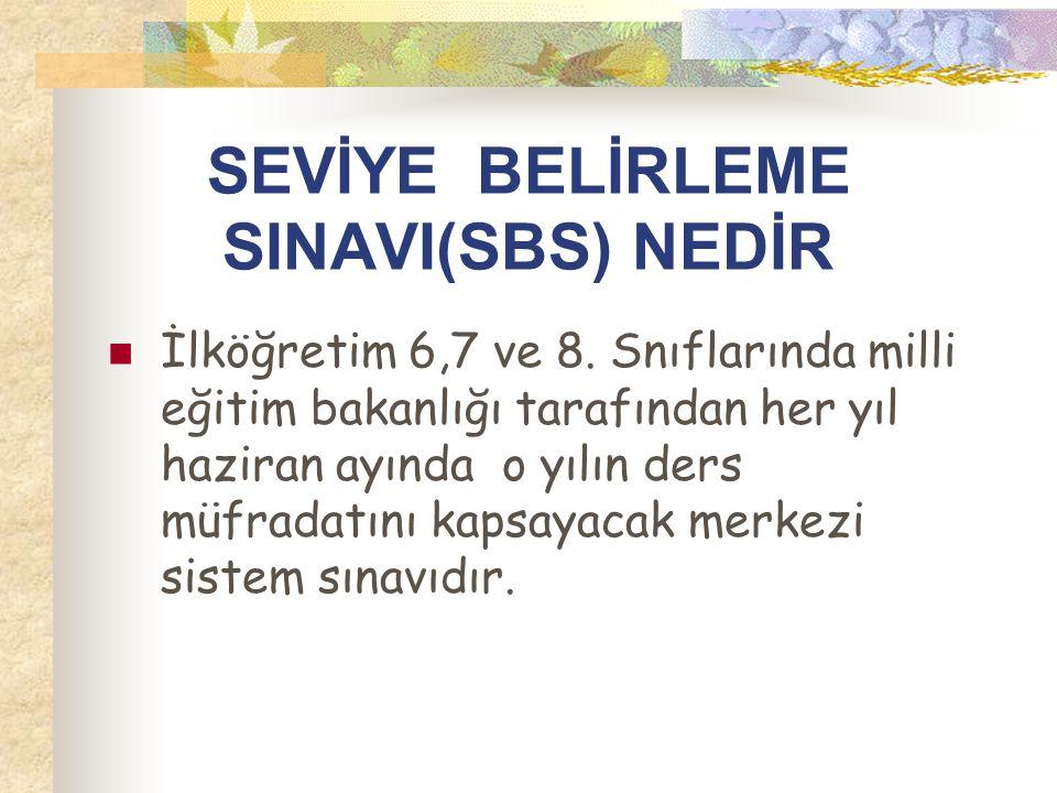 SEVİYE BELİRLEME SINAVI(SBS) NEDİR  İlköğretim 6,7 ve 8.