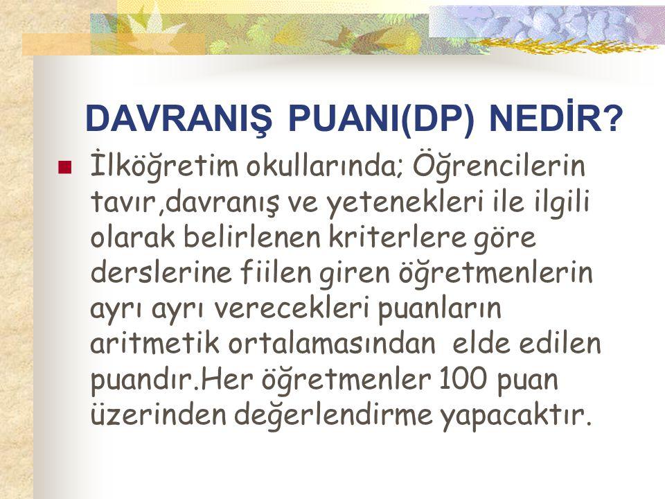 DAVRANIŞ PUANI(DP) NEDİR.