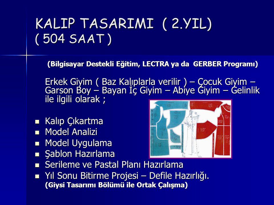 KALIP TASARIMI ( 2.YIL) ( 504 SAAT ) (Bilgisayar Destekli Eğitim, LECTRA ya da GERBER Programı) (Bilgisayar Destekli Eğitim, LECTRA ya da GERBER Progr