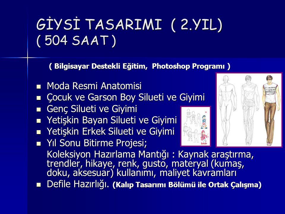 GİYSİ TASARIMI ( 2.YIL) ( 504 SAAT ) ( Bilgisayar Destekli Eğitim, Photoshop Programı ) ( Bilgisayar Destekli Eğitim, Photoshop Programı )  Moda Resmi Anatomisi  Çocuk ve Garson Boy Silueti ve Giyimi  Genç Silueti ve Giyimi  Yetişkin Bayan Silueti ve Giyimi  Yetişkin Erkek Silueti ve Giyimi  Yıl Sonu Bitirme Projesi; Koleksiyon Hazırlama Mantığı : Kaynak araştırma, trendler, hikaye, renk, gusto, materyal (kumaş, doku, aksesuar) kullanımı, maliyet kavramları  Defile Hazırlığı.