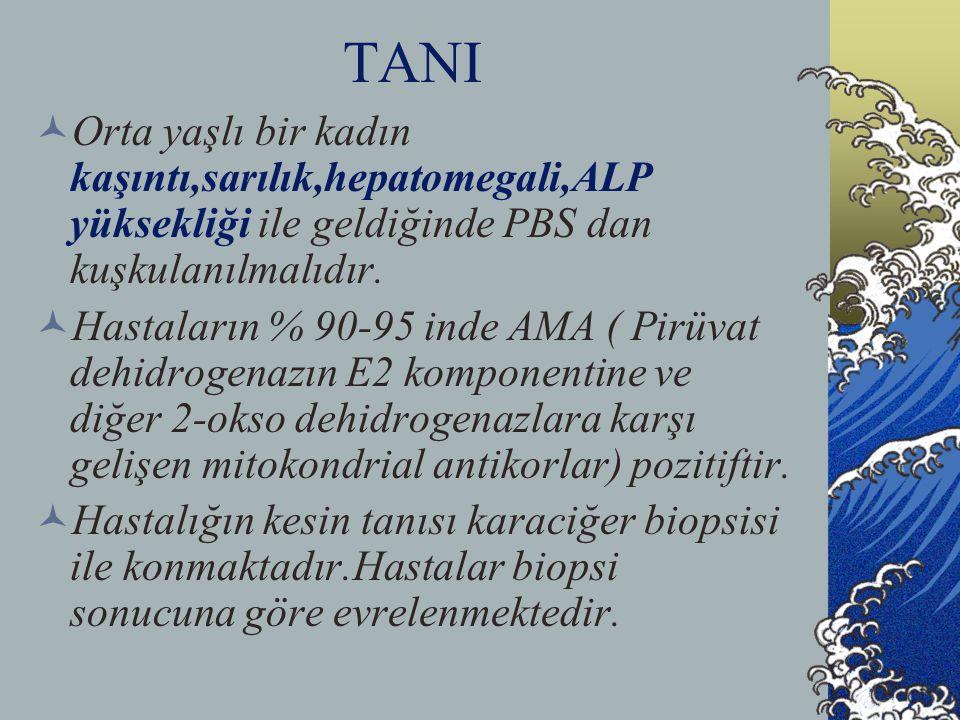 TANI  Orta yaşlı bir kadın kaşıntı,sarılık,hepatomegali,ALP yüksekliği ile geldiğinde PBS dan kuşkulanılmalıdır.  Hastaların % 90-95 inde AMA ( Pirü
