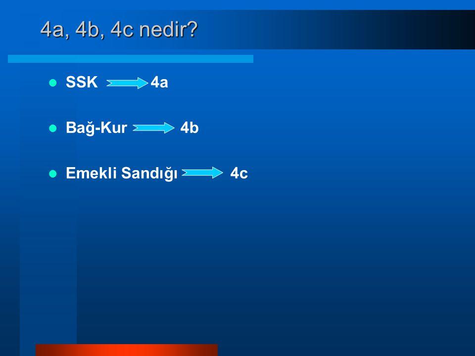 4a, 4b, 4c nedir?  SSK 4a  Bağ-Kur 4b  Emekli Sandığı 4c