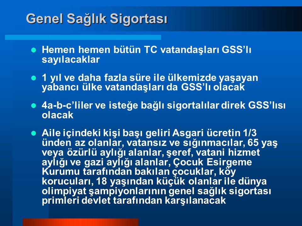 Genel Sağlık Sigortası  Hemen hemen bütün TC vatandaşları GSS'lı sayılacaklar  1 yıl ve daha fazla süre ile ülkemizde yaşayan yabancı ülke vatandaşları da GSS'lı olacak  4a-b-c'liler ve isteğe bağlı sigortalılar direk GSS'lısı olacak  Aile içindeki kişi başı geliri Asgari ücretin 1/3 ünden az olanlar, vatansız ve sığınmacılar, 65 yaş veya özürlü aylığı alanlar, şeref, vatani hizmet aylığı ve gazi aylığı alanlar, Çocuk Esirgeme Kurumu tarafından bakılan çocuklar, köy korucuları, 18 yaşından küçük olanlar ile dünya olimpiyat şampiyonlarının genel sağlık sigortası primleri devlet tarafından karşılanacak