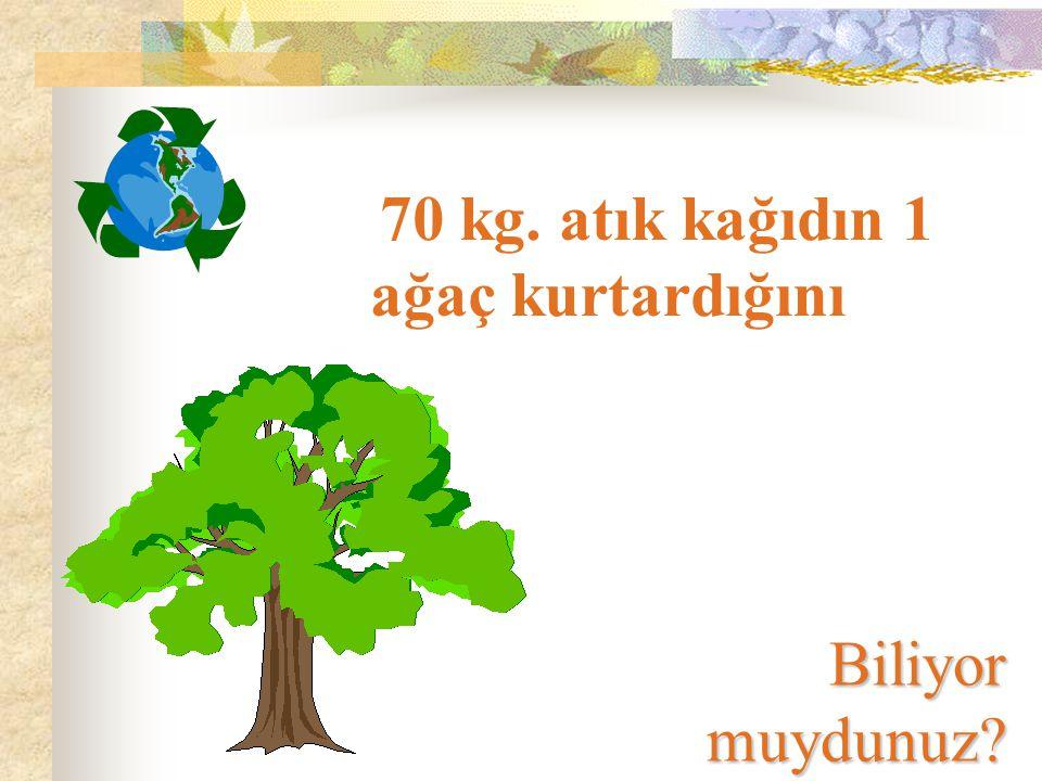 Atık kağıdın ağaç yerine kullanılmasıyla, %25-70 Enerji Tasarrufu %60 Hava Kirliliğinde Azalma %40 Su Kirliliğinde Azalma %60 Su Tasarrufu %40 Çöp Hacminde Azalma Sağlanabileceğini..