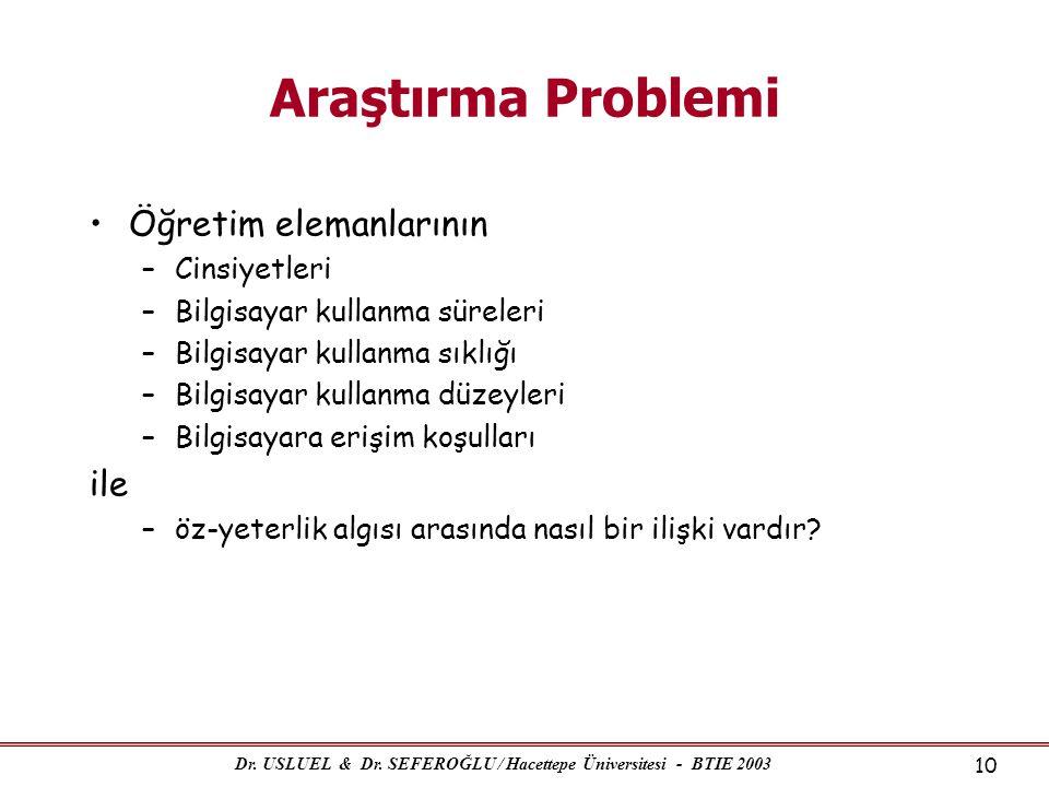 Dr. USLUEL & Dr. SEFEROĞLU / Hacettepe Üniversitesi - BTIE 2003 10 Araştırma Problemi •Öğretim elemanlarının –Cinsiyetleri –Bilgisayar kullanma sürele