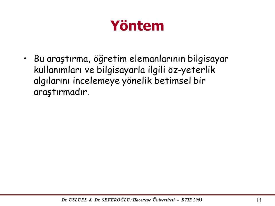 Dr. USLUEL & Dr. SEFEROĞLU / Hacettepe Üniversitesi - BTIE 2003 11 Yöntem •Bu araştırma, öğretim elemanlarının bilgisayar kullanımları ve bilgisayarla