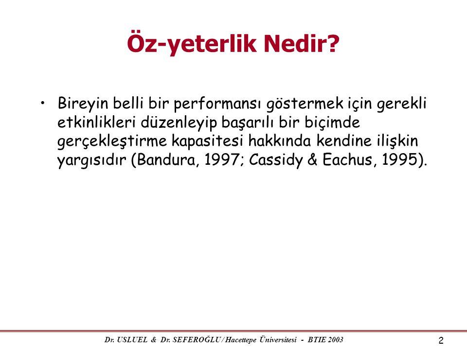 Dr. USLUEL & Dr. SEFEROĞLU / Hacettepe Üniversitesi - BTIE 2003 2 Öz-yeterlik Nedir? •Bireyin belli bir performansı göstermek için gerekli etkinlikler
