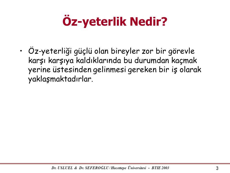 Dr. USLUEL & Dr. SEFEROĞLU / Hacettepe Üniversitesi - BTIE 2003 3 Öz-yeterlik Nedir? •Öz-yeterliği güçlü olan bireyler zor bir görevle karşı karşıya k