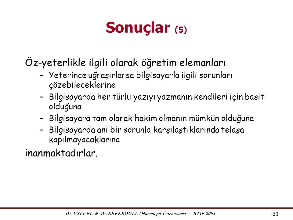 Dr. USLUEL & Dr. SEFEROĞLU / Hacettepe Üniversitesi - BTIE 2003 31 Sonuçlar (5) Öz-yeterlikle ilgili olarak öğretim elemanları –Yeterince uğraşırlarsa