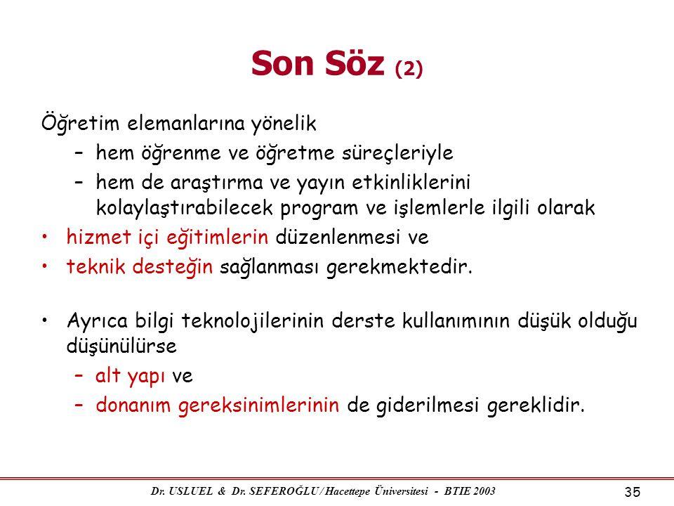Dr. USLUEL & Dr. SEFEROĞLU / Hacettepe Üniversitesi - BTIE 2003 35 Son Söz (2) Öğretim elemanlarına yönelik –hem öğrenme ve öğretme süreçleriyle –hem