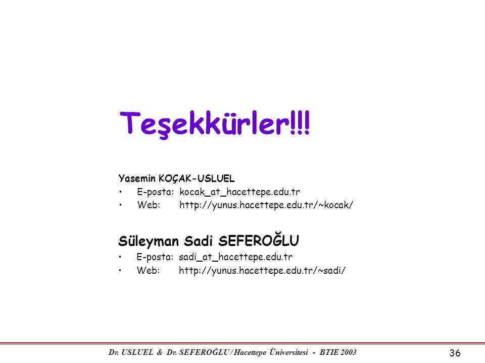 Dr. USLUEL & Dr. SEFEROĞLU / Hacettepe Üniversitesi - BTIE 2003 36 Yasemin KOÇAK-USLUEL •E-posta: kocak_at_hacettepe.edu.tr •Web: http://yunus.hacette