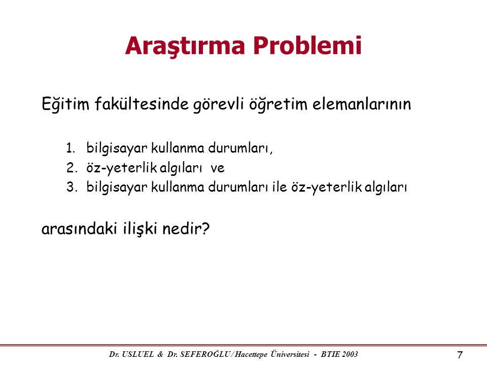 Dr. USLUEL & Dr. SEFEROĞLU / Hacettepe Üniversitesi - BTIE 2003 7 Araştırma Problemi Eğitim fakültesinde görevli öğretim elemanlarının 1.bilgisayar ku