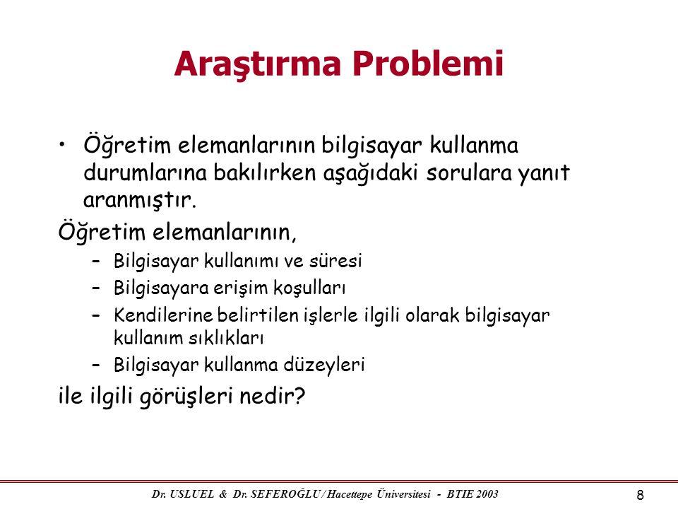 Dr. USLUEL & Dr. SEFEROĞLU / Hacettepe Üniversitesi - BTIE 2003 8 Araştırma Problemi •Öğretim elemanlarının bilgisayar kullanma durumlarına bakılırken