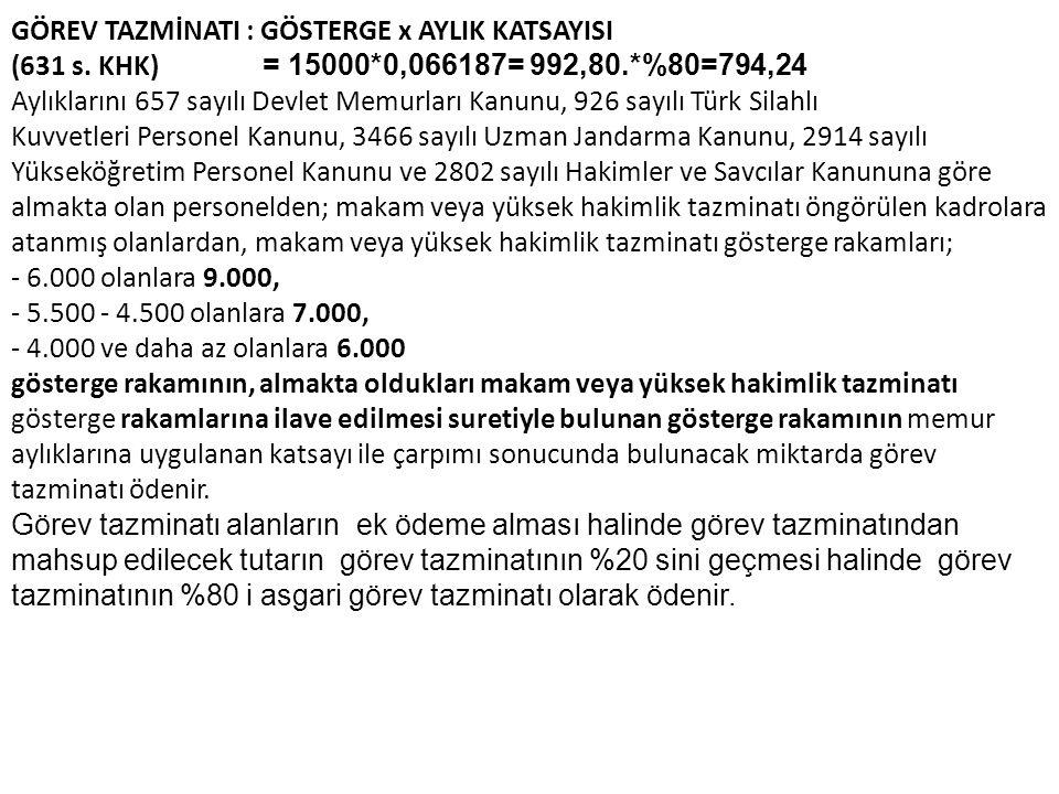 GÖREV TAZMİNATI : GÖSTERGE x AYLIK KATSAYISI (631 s.