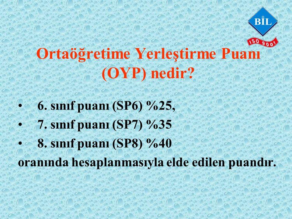 Ortaöğretime Yerleştirme Puanı (OYP) nedir. •6. sınıf puanı (SP6) %25, •7.