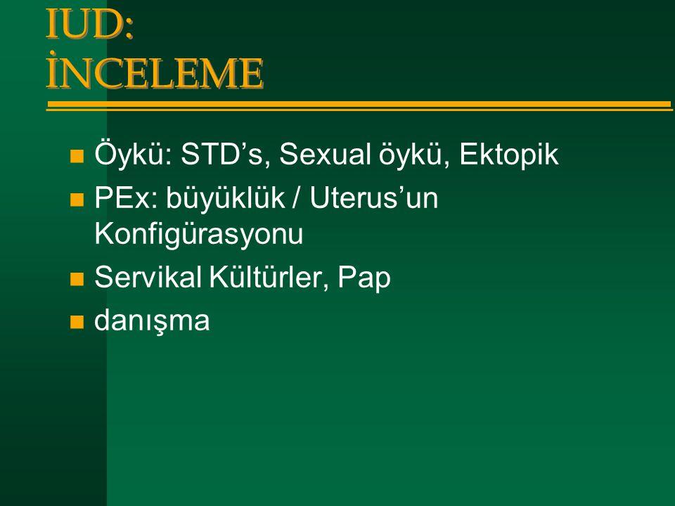 IUD: İNCELEME  Öykü: STD's, Sexual öykü, Ektopik  PEx: büyüklük / Uterus'un Konfigürasyonu  Servikal Kültürler, Pap  danışma